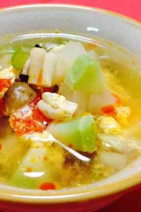 残り野菜でミネストローネ風中華スープの画像