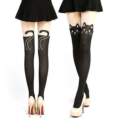 Cute Sexy Black Cat / Cat Tail Thigh High Stockings – Boho Marché