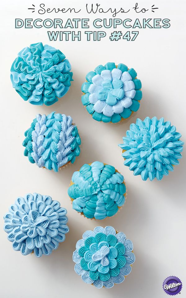 Don't just serve the same-old cupcakes at your party. Spice up the celebration with a new technique or two or seven! You can decorate some amazing effects using only tip 47 and your favorite shade of icing. Tip 47 has a smooth and a ridged side, so you can mix it up just by turning the tip!