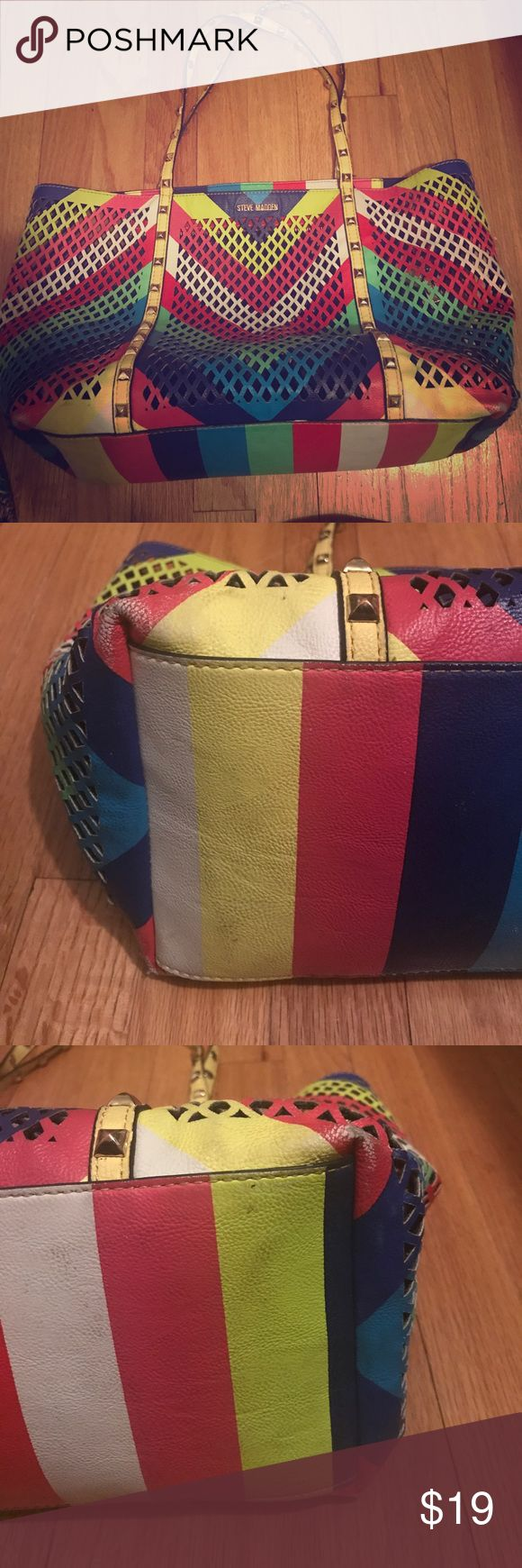 Rainbow Mesh Steve Madden Purse Condition is fair. Slightly noticeable  wear and tear to the purse (please view photographs). The purse does come with has a inside pouch, as shown in the photographs Steve Madden Bags Shoulder Bags