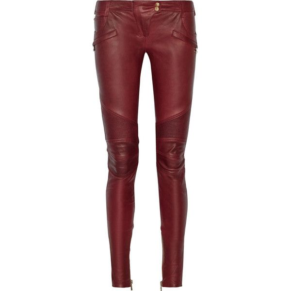 Balmain Moto-style leather skinny pants ($2,495) ❤ liked on Polyvore featuring pants, jeans, trousers, bottoms, calça, balmain pants, balmain, real leather pants, red trousers and skinny fit pants