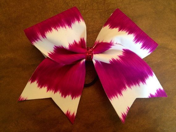 Purple and white cheer bow