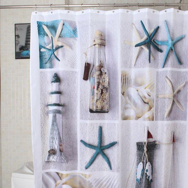 Moda Mare Shell starfish Impermeabile Tessuto Tenda Della Doccia Con 12 Ganci mappa del mondo Ciottoli bagno balneazione bloccando tende
