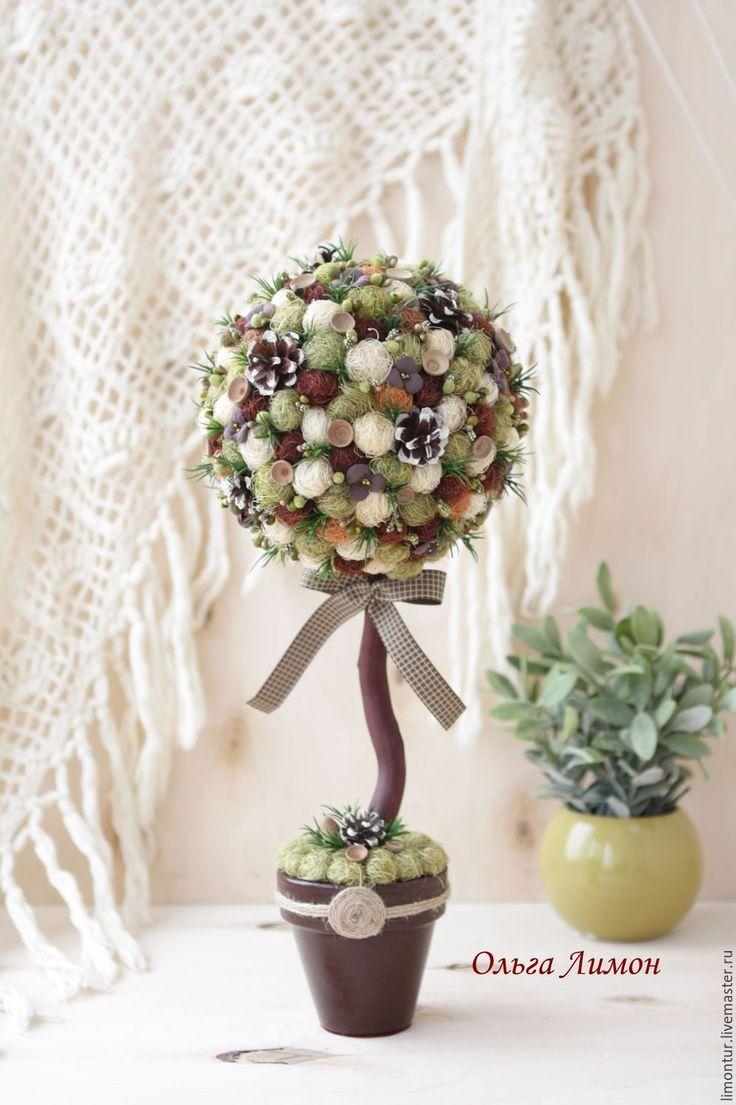 """Купить Топиарий """"Дачный гость""""! - коричневый, топиарий, Дерево счастья, дерево, дерево на дачу"""