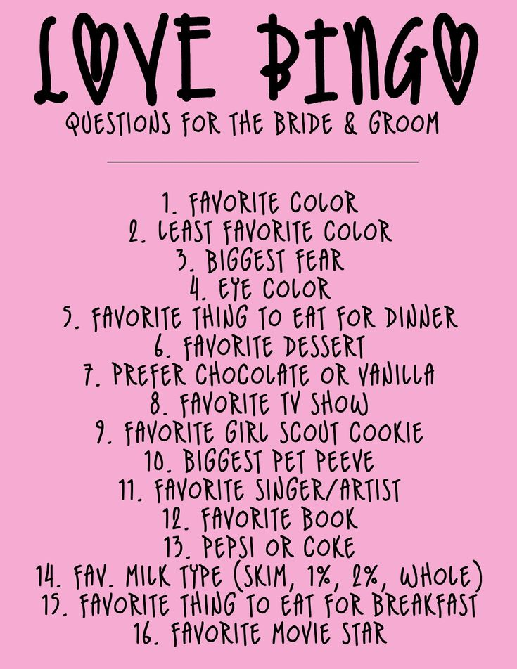 Bridal Shower Question Game | Here are two list of questions you can use to play a Love BINGO game ...