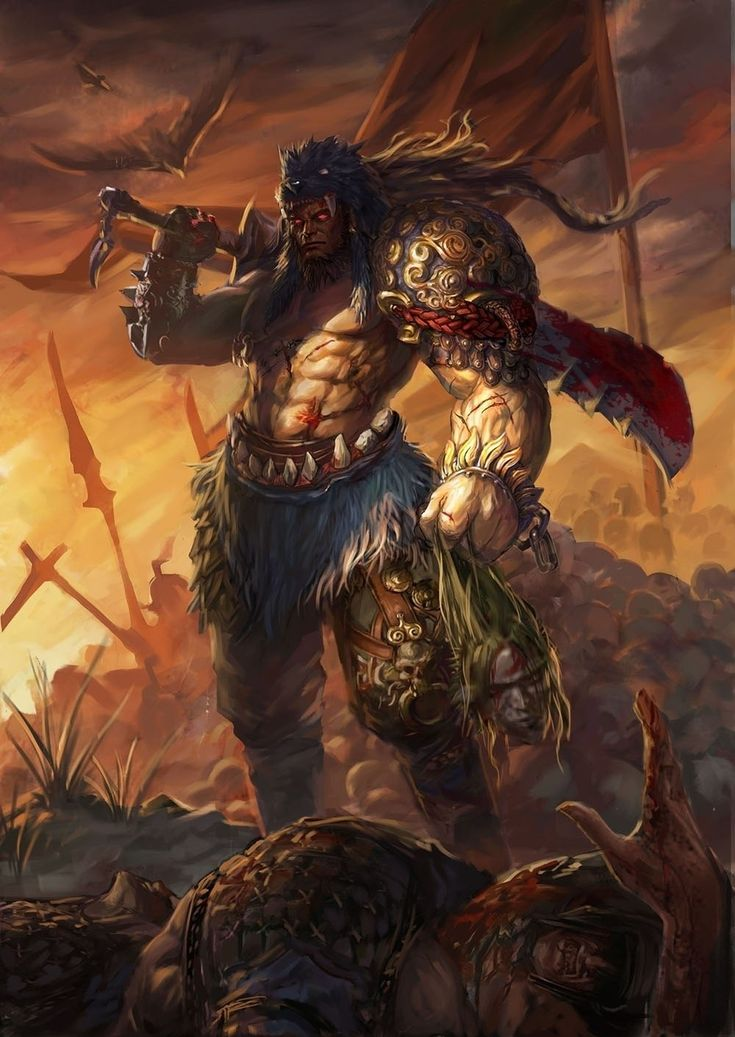 Поле боя Воины Кровь Меч Голова Глаза