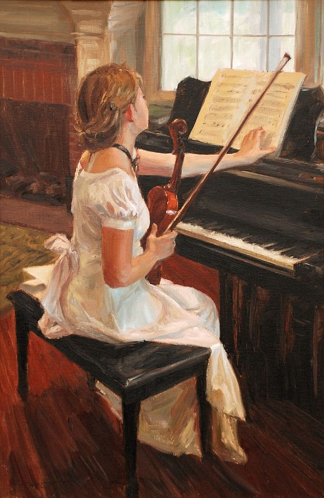 FIRST TIME THROUGH, by TRENT GUDMUNDSEN (this picture reminds me of the countless times I've wished I could play violin and piano at the same time)
