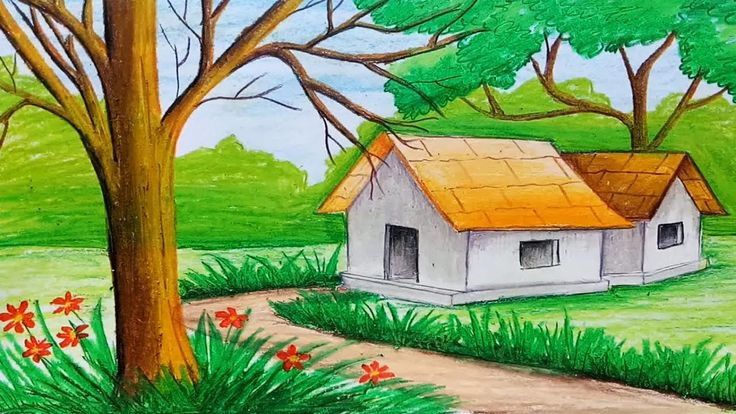 landscape easy pastel oil simple drawing drawings draw scenery step very nature painting paintings colorful paintingvalley class land