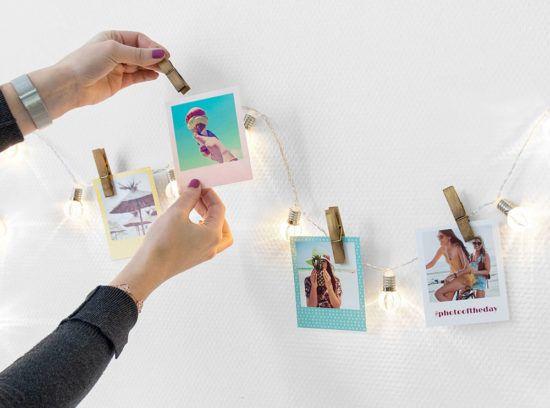Super Tipp für Deine Fotos - Retro Bilder an eine Lichterkette mit Klammern hängen. Sieht super aus und ist ganz einfach.