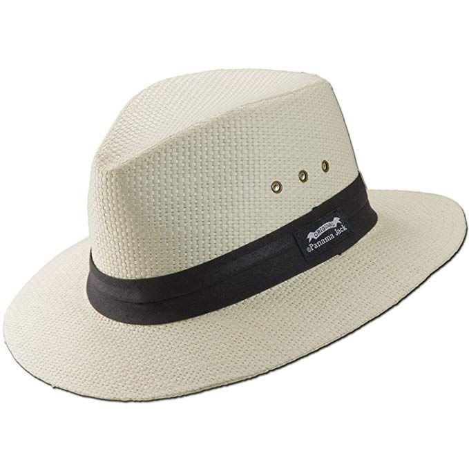 d8163df377a Panama Jack Natural Matte Toyo Safari Sun Hat with Black Band (White,  Large) at Amazon Men's Clothing store: