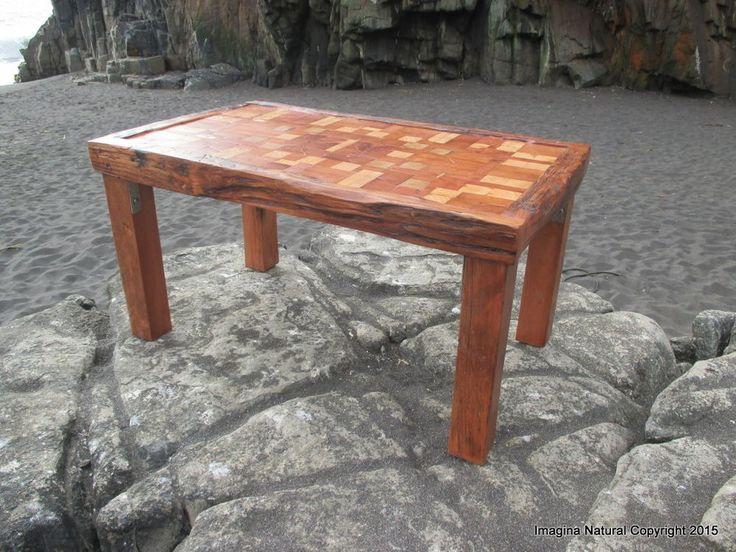 Unique Reclaimed Tsunami Wood Mosaic Coffee Table Handmade In Constitucion Chile #ImaginaNatural #RusticPrimitive