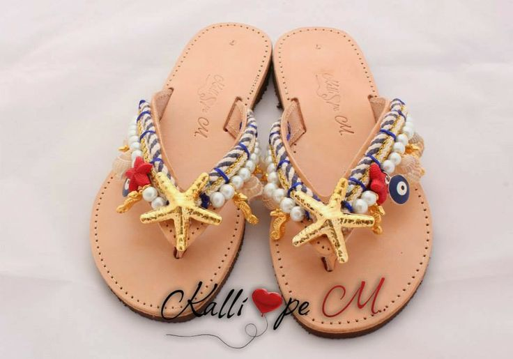 Kalliope M.: Handmade summer sandals. #handmade #summer #sandals #leather #greek #starfish #evil eye #pearls #cute #flipflops