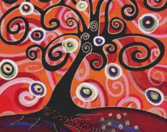 Cross stitch modern art by Gillian Mowbray 'Where by GeckoRouge