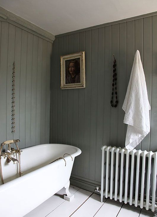 Love grey and white in a bathroom, with maybe some cheery yellow accessories or flowers?
