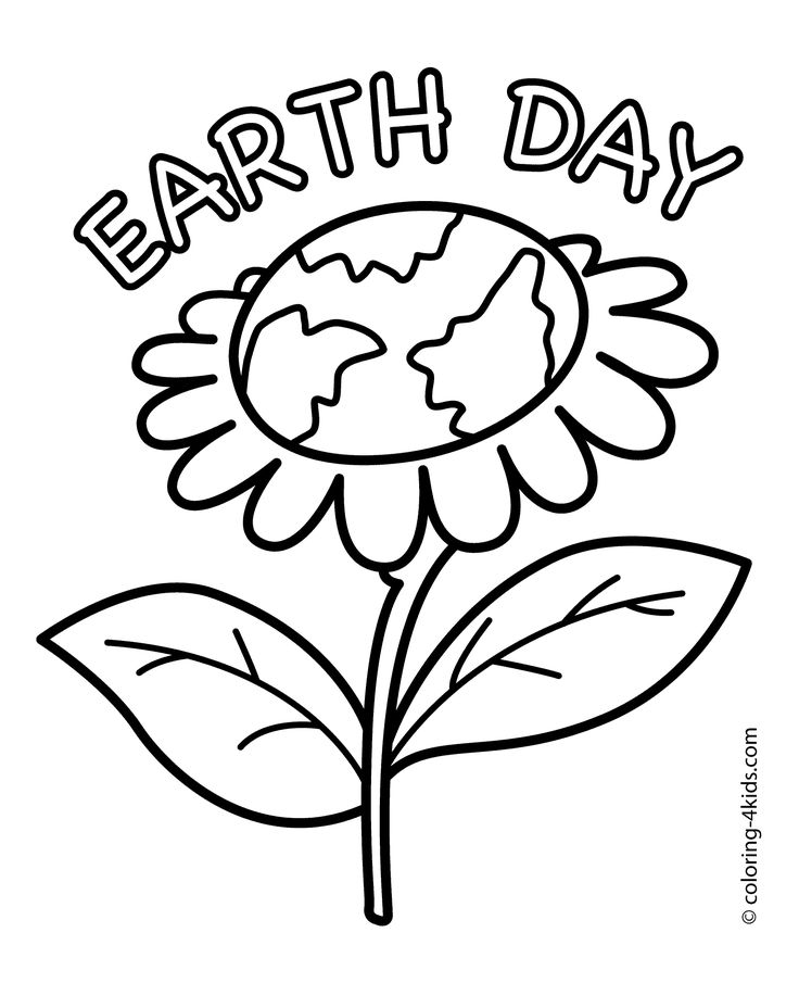 Earth Day flower coloring pages for kids today, printable free