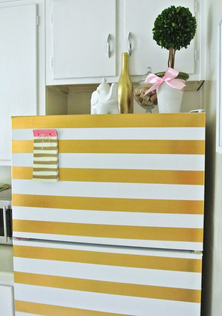 """I SERIOUSLY need this """"kate spade"""" fridge!!! (from the Monogrammed Life: DIY Gold Striped Refrigerator)"""