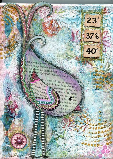 Mixed Media Bird on Canvas