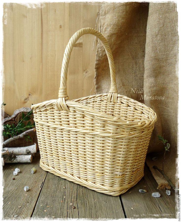 """Купить """"Светлый день"""" Корзинка плетеная - корзина плетеная, натуральный цвет, соломенная корзинка"""