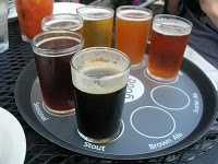 Southend Brewery and Smokehouse in Charleston. Beer sampler trays with 5-oz pours of six different beers.