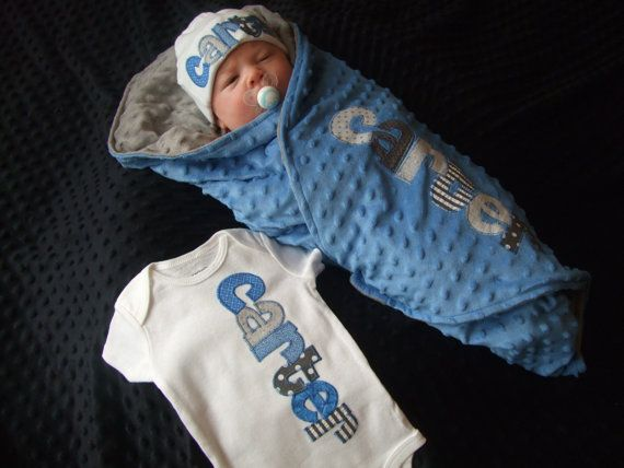 Homecoming outfit - personalized bodysuit, beanie cap, and minky blanket in your choice of colors by Tried and True Designs on Etsy