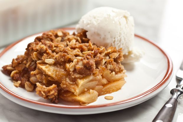 Easy Apple Crisp with Oatmeal Streusel - 6 Points plus.  This was very tasty and easy to put together.  I used 5 medium sized granny smith apples. It makes 8 servings and each serving is 204 calories.