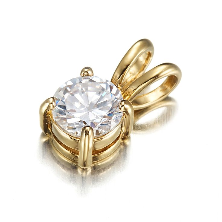 18ct Yellow Gold Layered Round Charm with Clear CZ Stone Pendant | Allure Gold