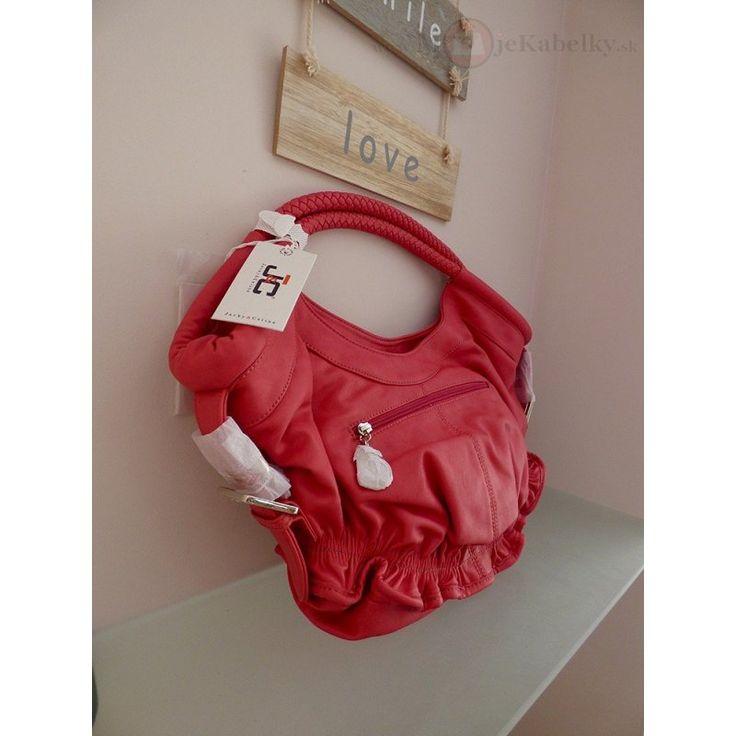 Značková talianska kabelka J&C červená ekokoža JC712-2