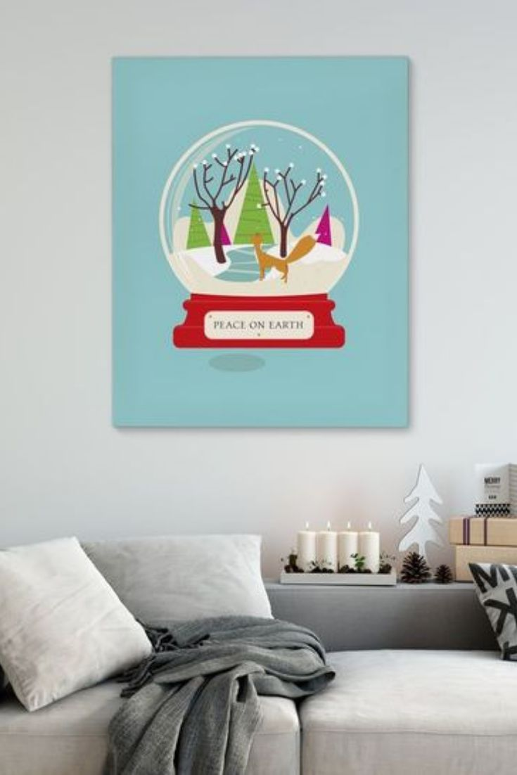 Fox Snowglobe Graphic Art Print On Wrapped Canvas Is Printed With Pigment Based Ink On Solid Musical Christmas Snow Globes Christmas Snow Globes Snow Globes