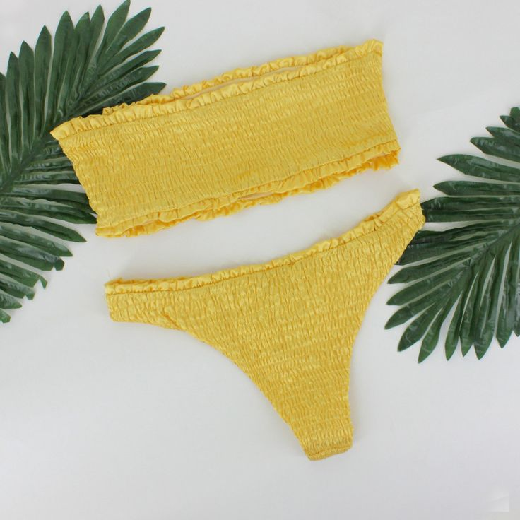 Just In Smocked Strapless... Shop Now! http://www.shopelettra.com/products/smocked-strapless-brazilian-bikini-set-yellow?utm_campaign=social_autopilot&utm_source=pin&utm_medium=pin #love #ootd