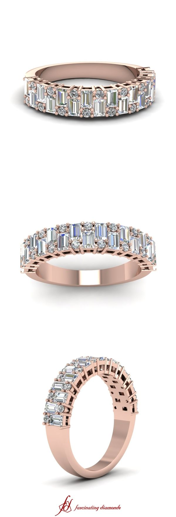 Baguette Rapture Band || White Diamond Wedding Band In 14K Rose Gold