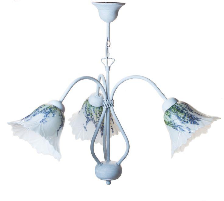 Żyrandol prowansalski biały 3L. Lampy prowansalskie krainalamp.com Ręcznie robiony. Wys. 54 cm, szer. 57 cm. 292 zł. Żyrandol prowansalski