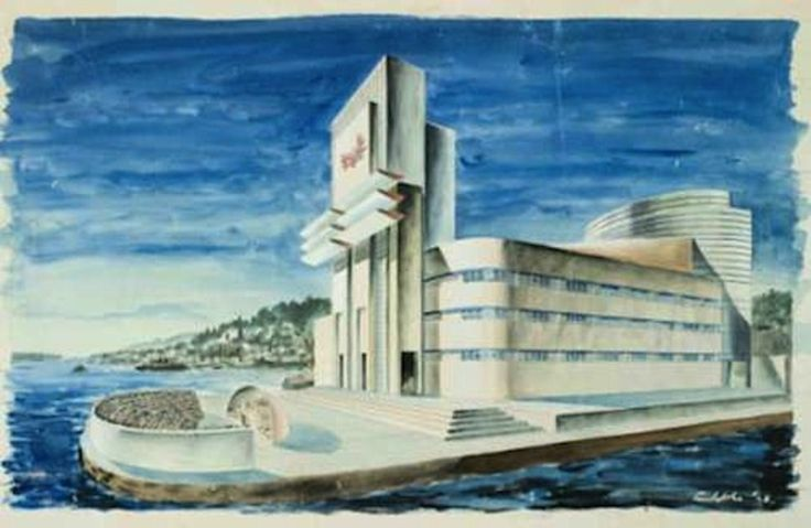 The Proposal For The Sydney Opera House  Sketches by Eugene Goossen, colours by Bill Constable.