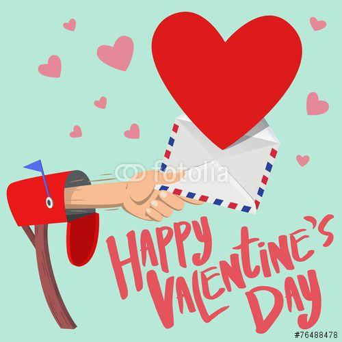 30 Wektor: Happy Valentine's day mail box