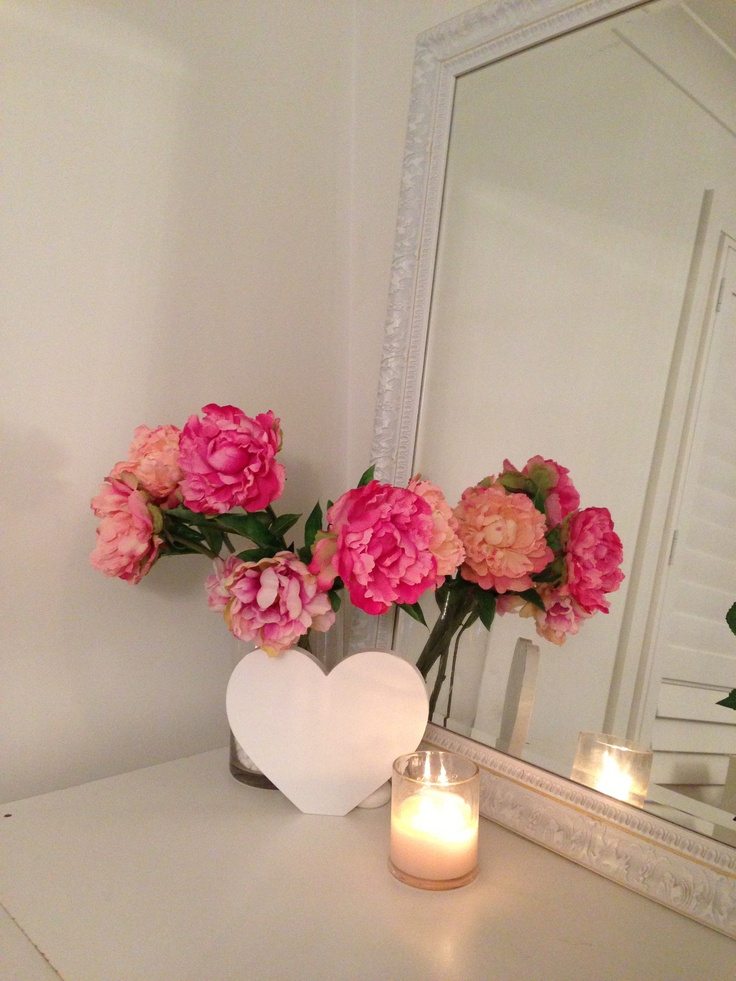 Pretty Candle & Flowers In our Blush Brides Makeup Studio/Room