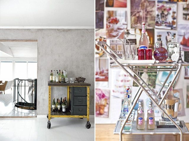 The one on the left, with the drawers. I want a vintage bar cart. Not to make cocktails, however. To make afternoon tea. :-)