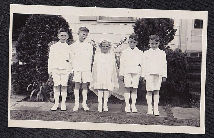 Старинная фотография маленькая девочка с четырех маленьких мальчиков сначала святое причастие наряды | eBay