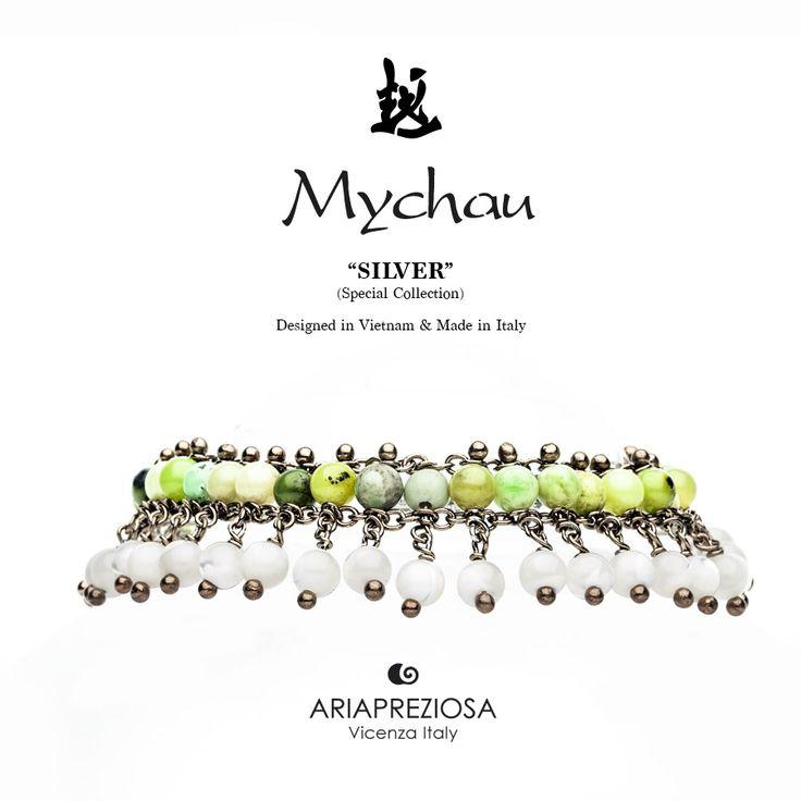 Mychau Silver - Bracciale realizzato in Argento 925‰ (galvanica chocolate) e pietre naturali Crisoprasio e Madreperla
