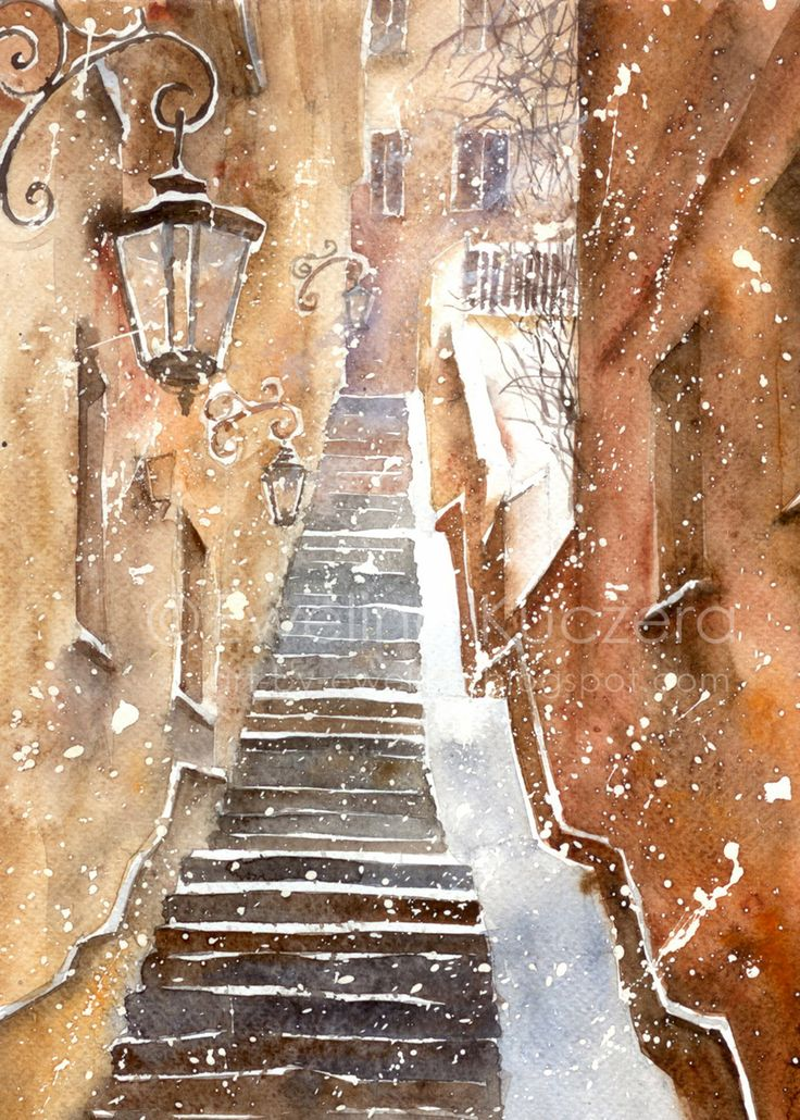 Stone Steps in Warsaw, A4.  #snow #snowy #winter #watercolor #art #warsaw #oldtown #illustration #christmas #painting #brown #orange #grey #white #steps #poland #ewelinakuczera #christmas #christmastime #holidays