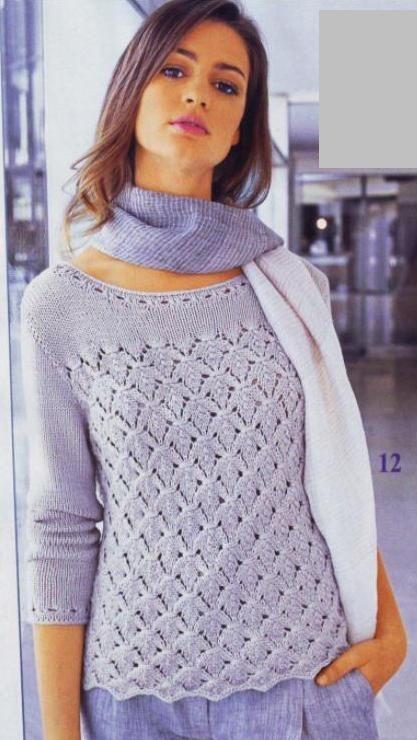lutik-вязание крючком и спицами: ажурная кофточка спицами