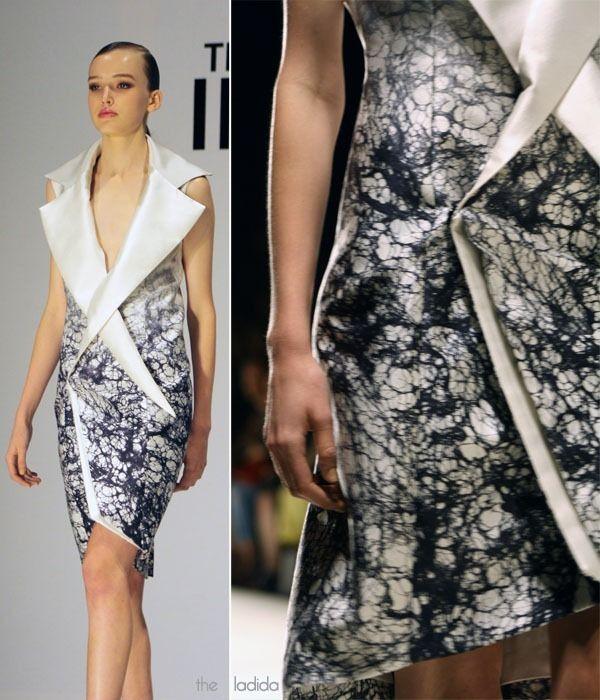 MBFWA: THE INNOVATORS X YING YUAN. Silk wool spider web digital print sleeveless jacket dress. Designed by Ying Yuan.