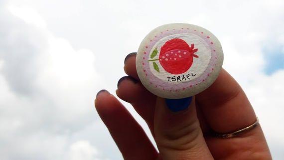 Mano pintada piedra de Israel Israel recuerdo regalo de Bar