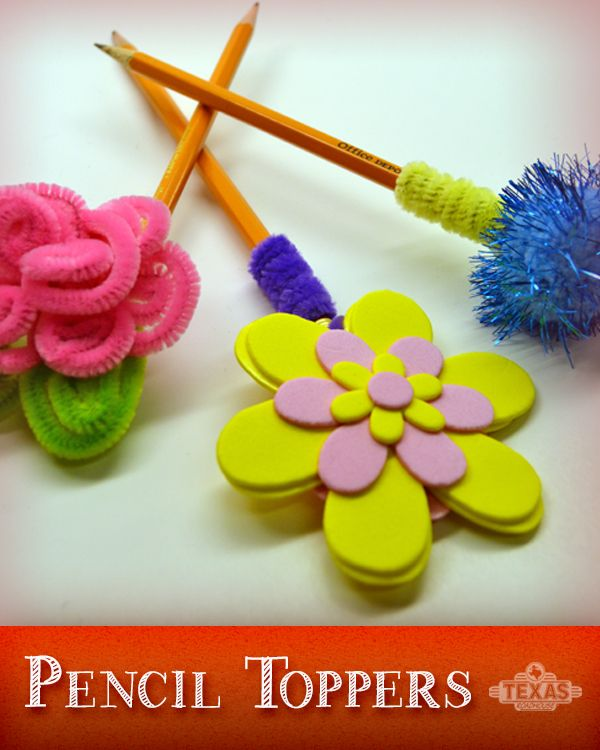 Cute, easy to make kids pencil toppers! Click for step-by-step instructions.