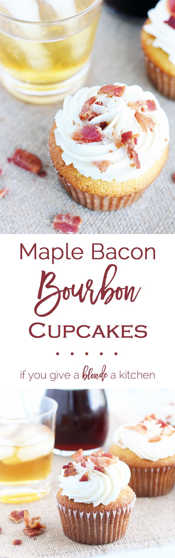 Maple bacon bourbon cupcakes are THE boozy cupcakes you need to make this fall. | www.ifyougiveablondeakitchen.com