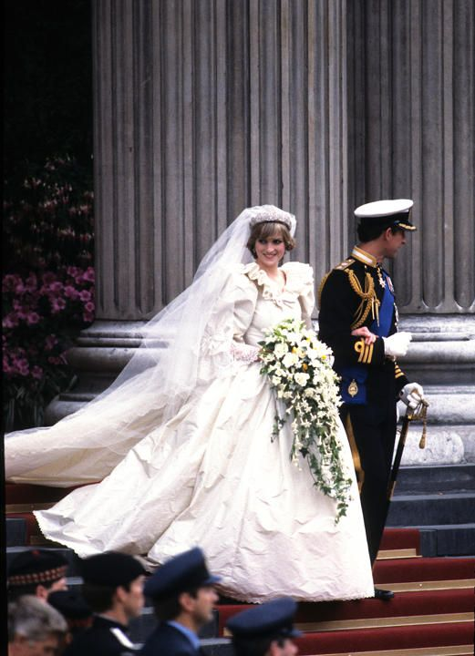 Princess Diana's David and Elizabeth Emanuel wedding dress with its layers of petticoats and 25-foot train.