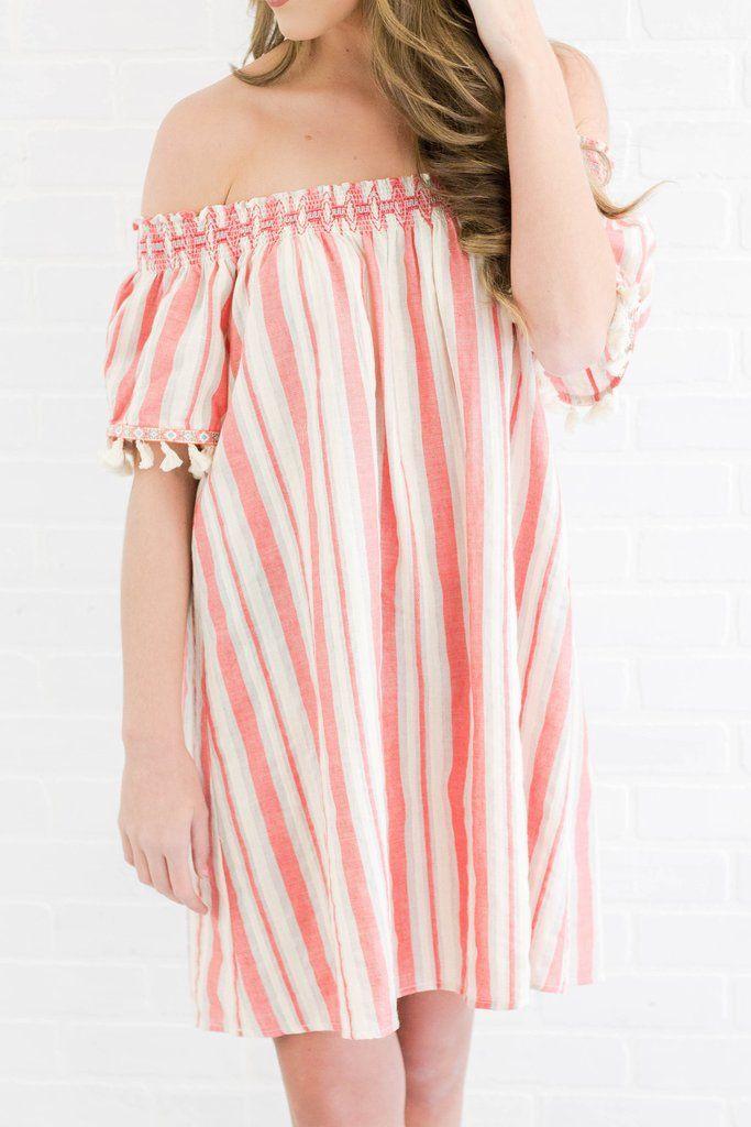 a4eef24e2b9da8 Off The Shoulder Dress- Bright Dress- Tassel Dress-  36- Juliana s Boutique