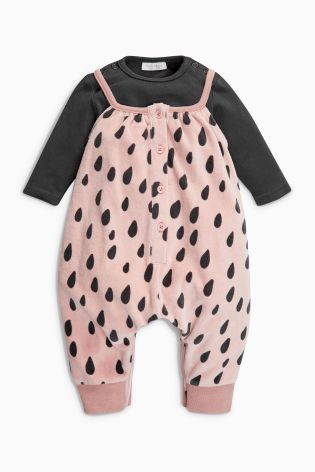 Buy Pink Print Velour Dungarees And Bodysuit (0mths-2yrs) online today at Next: United States of America