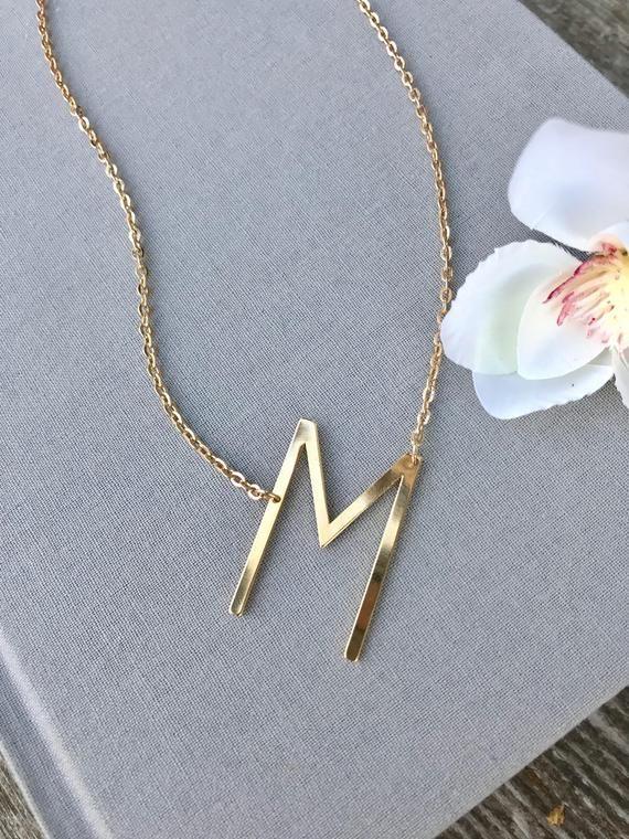 Gold Initial Necklace Letter M Necklace Alphabet Necklace Etsy Initial Necklace Gold Initial Necklace M Necklace