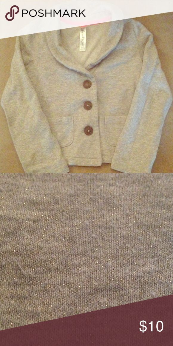 Girl's Sweatshirt Girl's size S (6/6x) button down fleece Cherokee brand sweatshirt. Nice basic but with some style. Gray w/ light glittering throughout. Lightly used/great condition. Smoke-free home. Cherokee Shirts & Tops Sweatshirts & Hoodies