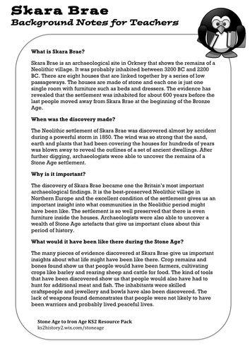 Skara Brae Teacher's Guide -Stone Age-Iron Age KS2