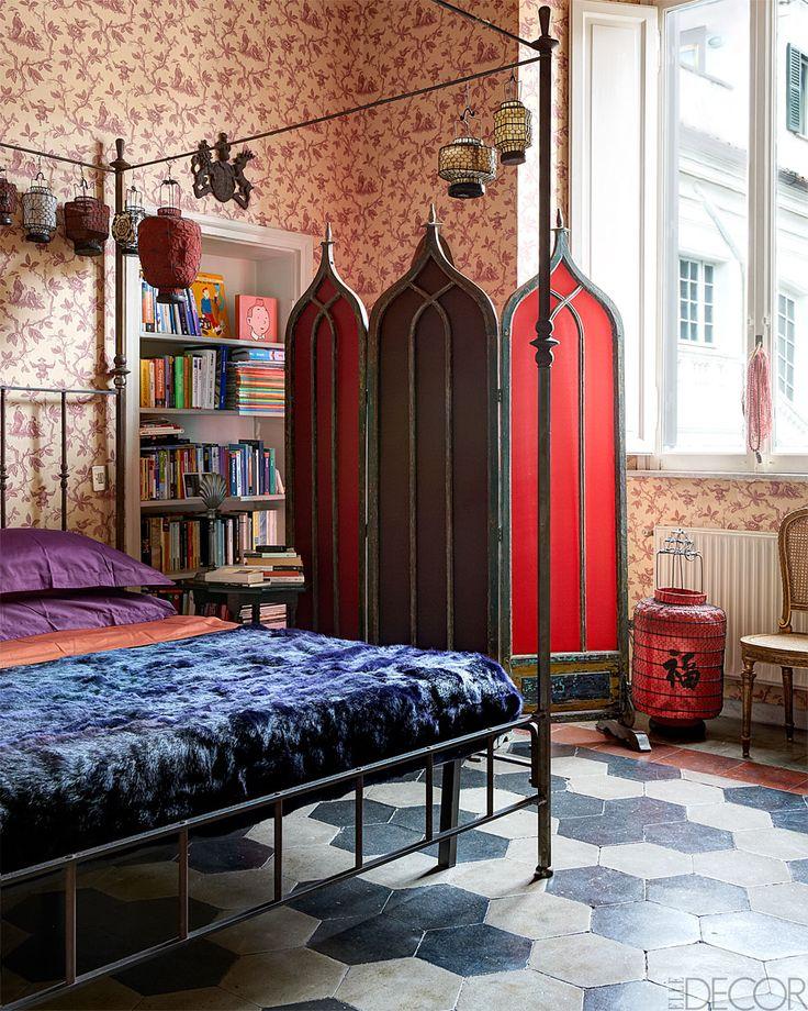 Roseland Greene Exotic Bedroom With Chinese Lanterns